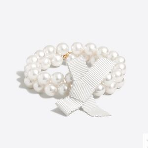 J.Crew Crewcuts Pearl Bracelet Ivory E3334 bow NWT